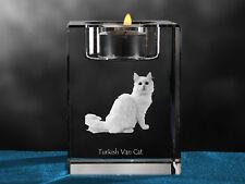 Turkish Van Cat, crystal candlestick with cat, souvenir, Crystal Animals Ca