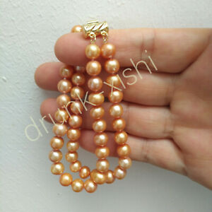 """7-7.5"""" Double Strands AAAA South Sea Round Champagne Pearl Bracelet 14k Gold P"""