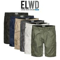 Mens Elwood Work Utility Shorts Canvas Cargo Phone Pocket Tough Tradie EWD201