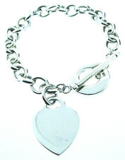 BAKU STERLING SILVER 925 HEART TOGGLE LINK BRACELET