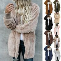 2018 Women's Fleece Fur Jacket Outerwear Tops Winter Warm Hooded Fluffy Coat New