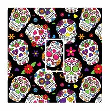 Novelty Mexican Sugar Skull Pattern Light Switch Vinyl Sticker Cover Skin Decal