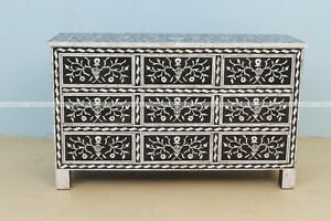 Indian Handmade Mother Of Pearl Inlay Floral Design Chest Of 9 Drawer