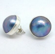 Blue Mabe Pearl Stud Earrings, Solid Sterling Silver, New, 15mm diameter