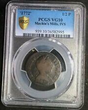1772 Machin's Mills IVS  PCGS VG10  population 2/8  Gold Shield  RARE variety!