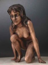 """Bronze Nude Lady """" Pounce """" Lost Wax Process Sculpture"""