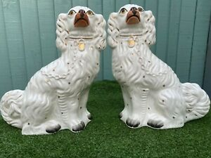 SUPERB PAIR: VERY LARGE 19thC STAFFORDSHIRE WHITE & GILT SPANIEL DOGS c1880s