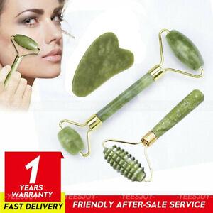 3pcs Natural Rose Quartz Jade Roller & Gua Sha Scrapping Tool Set Face Massager