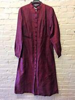 NWT Vintage J Peterman 8 Raw Silk Long Duster Coat Dress Burgundy Mandarin
