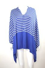 Hannah Rose women's Cotton & Cashmere Button Down Poncho one size blue and white
