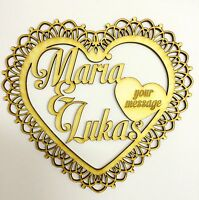 Personalized decor display wooden heart; Mother's Day, wedding; anniversary