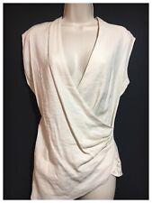 FARHI Chic Draped Top Nature Beige Designer Blouse Linen Stretch Work Party S 10