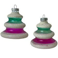 Rare Lot 2 1940s Vtg Glass Shiny Brite Wide Bottom Lantern Christmas Ornaments