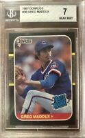 1987 Donruss #36 Greg Maddux Rated Rookie BGS 7 NM Condition Cubs Braves RC HOF