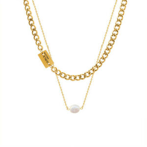 Woman 18K Gold Plated Stainless Steel Cuban Chain 2 Layers Pearl Chain Necklace