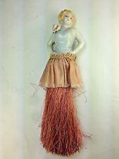 Vintage Pink  Art Deco Flapper  Porcelain Half Doll Whisk Broom