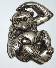 Vintage BIG UNIQUE Silvertone Puffy Chimp Pin Brooch Chimpanzee Puffy Light Pin