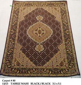 144 KPSI Handmade Carpet 3x5 Mahi Black Plush Wool & Silk (37 x 61 in) Rug