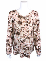 Isaac Mizrahi Womens Floral Printed Ruffle Curved Hem Knit Top Sand 2X Plus Size