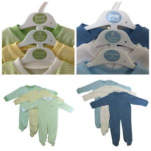 3 pack babygrow baby grow romper sleepsuit playsuit boys girls 100% cotton NEW