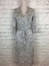 JAEGAR Black White Patterned 1/2 Sleeve Wrap Silk Occasion Party Dress Size XS