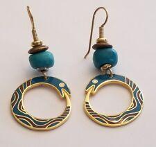 Vintage Laurel Burch Colorful Serpent hook style earrings