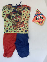 1963 BEN COOPER VINTAGE HALLOWEEN  CLOWN MASK & Costume Small CHILD (4-6) As Is