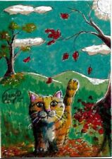 Jacob Landis Limited edition ACEO print /250 Kitty tabby cat fall autumn leaves