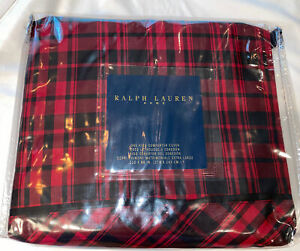 RALPH LAUREN KING DUVET COVER RED BLACK OTTER CREEK PLAID NEW DISCONTINUED RARE