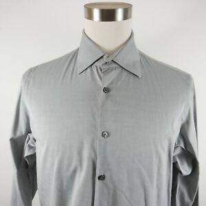 Hugo Boss Mens Cotton LS Button Down Gray Striped Dress Shirt 16.5 FRENCH CUFFS