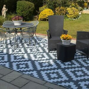 Valiant Outdoor Patio and Decking Rug Geometric Grey (12ft x 9ft / 3.6m x 2.7m)