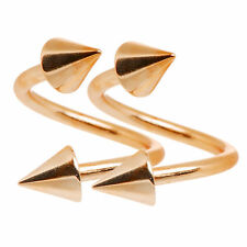 Spiral twist Rings 16g Rose Gold I.P. Lip, Cartilage Eyebrow set of 2