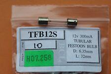 Pack 10 x Tubular Festoon Bulbs 12v L32mm D6.35mm 300mA 1.8w doubleended clear