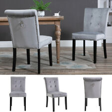 More details for 2x velvet dining chair with knocker/ring back dining room kitchen chairs grey