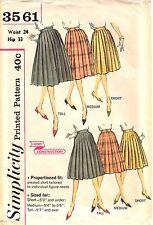 "Vintage 1960s Simplicity Sewing Pattern Women's PLEATED SKIRT 3561 W24"" UNCUT"
