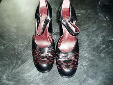 Lovley Ladies Jones Bootmaker Black Leather Block Heel Shoe Size Euro 39