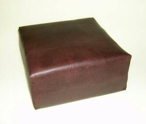 Seat Cushion in Premium  Dark Brown Faux Leather With Blue Firm Foam