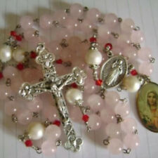 10 mm Pearl ROSARY & CROSS 8mm Pink Rose Quartz Beads Rosary crucifix necklace