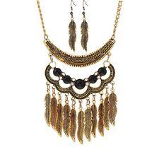 Vintage Fashion Jewelry Women Pendant Crystal Choker Bib Chain Necklace Set Ear