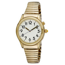 Men's Gold Tone Talking Watch White Face - Choice of Spanish Voice