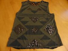 Express Sleeveless Top, lace back, geometric front with sequence triangle, XS