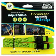"""ROK Motorcycle Luggage Straps LD Stretch To 28"""" 720mm Green Reflective Twin Pack"""