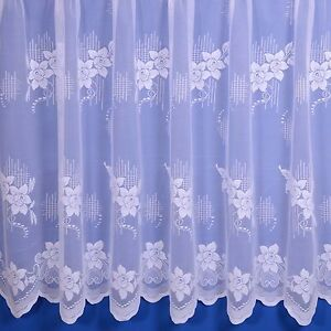 Alice Floral Net Curtain In White - Sold By The Metre - Free Postage!