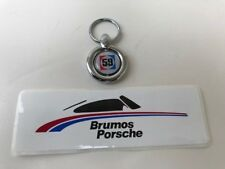 RARE BRUMOS PORSCHE RACING COLLECTION,KEY RING AND STICKER, NEW, GREGG, HAYWOOD