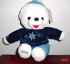 "2013 WalMART CHRISTMAS Snowflake TEDDY BEAR White a Boy 13""  Blue Outfit NEW."