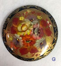 Russian Floral Lacquer Ware Brooch Pin HP  * CHOOSE 1