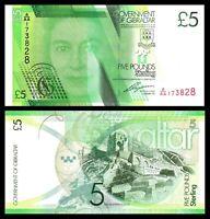 Gibraltar 5 Pounds 2011, CRISP UNC ***  , P-35, QE II, Prefix A/AA