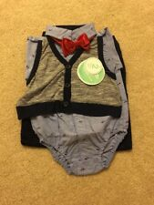 NWT Baby Boys Nannette Baby Striped Vest Red Bowtie With Pants Size 18 M