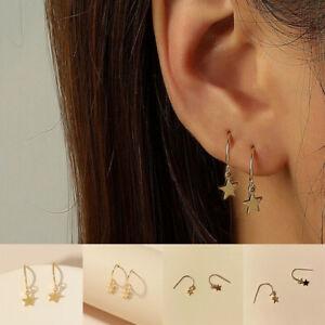 Fashion Geometric Clip Ear Cuff Stud Women's Punk Gold Star Earring Jewelry