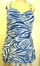CHAPS Slimming Fit Blue/White One-Piece Strapless Multi-Way Swimdress Size 14